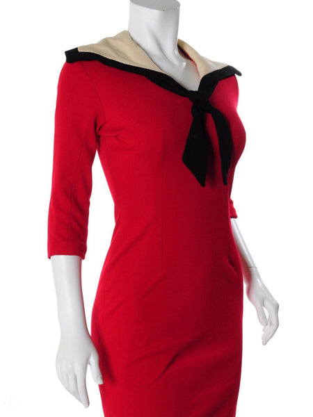 Vintage Nautical Wiggle Dress - angle view