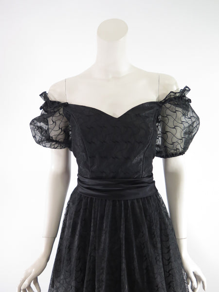 80s Full Black Party Dress - off shoulder close-up