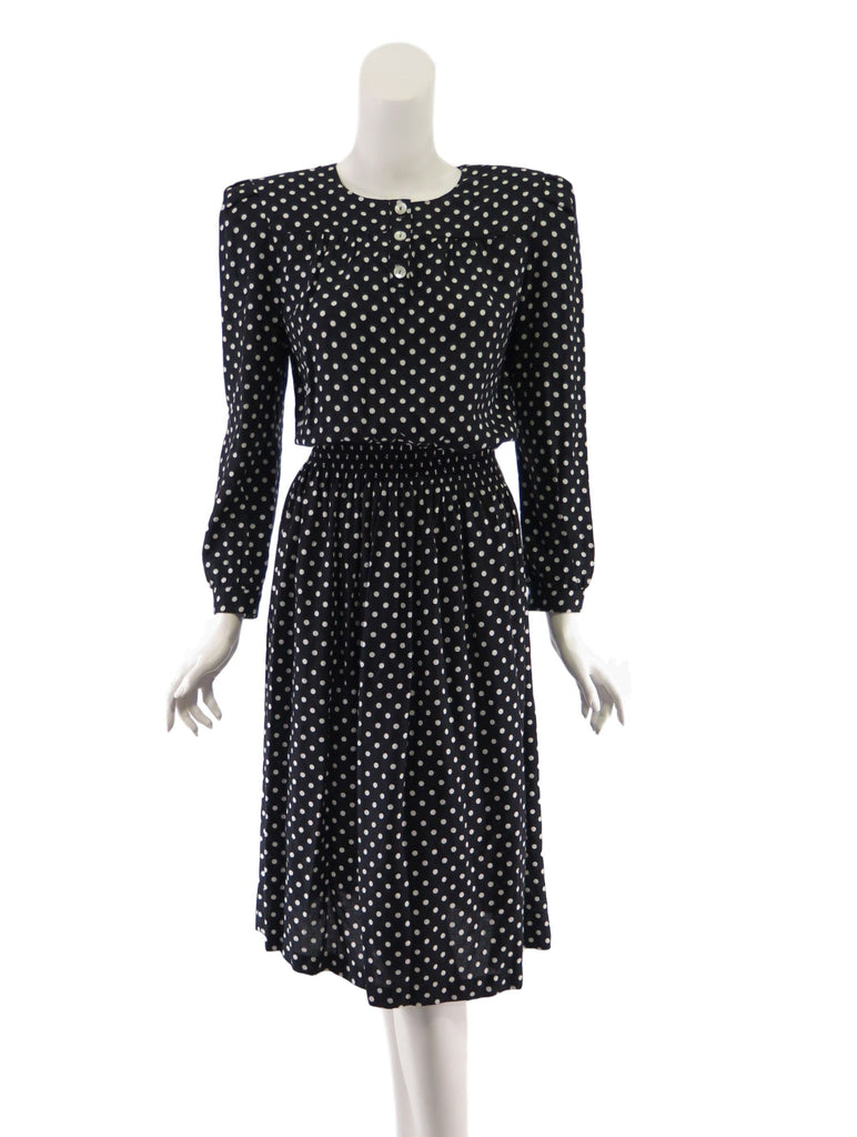 80s does 40s polka dot day dress