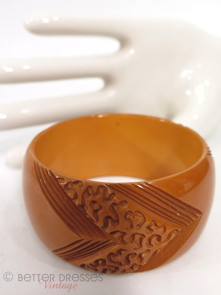 40s Butterscotch Wide Carved Bakelite Bangle - close view