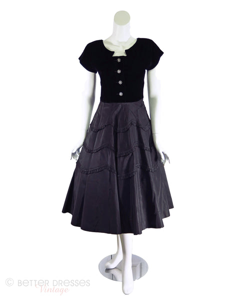 New Look Party Dress in Black Velvet Over Silk taffeta