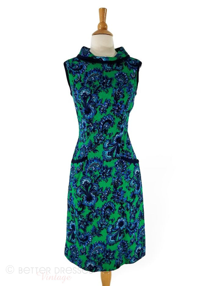 60s Shift Dress in Kelly Green and Blue - med