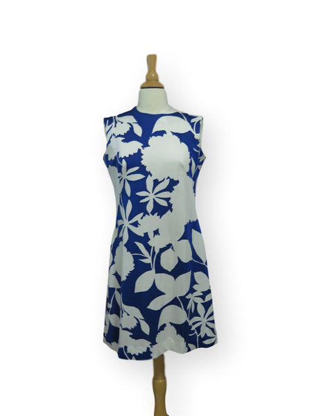 60s/70s Blue and White Belted Shift Dress - sm, med