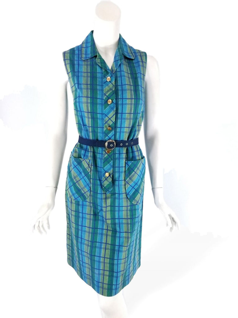 60s plaid cotton dress in blue and green