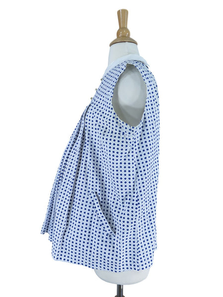 50s Maternity Blouse in Navy Polka Dots