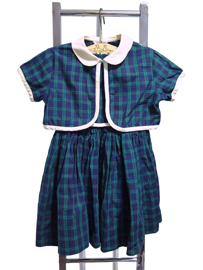 vintage little girl's plaid dress and jacket set