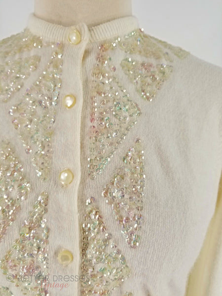 Detail of 1950s sequined cream cardigan