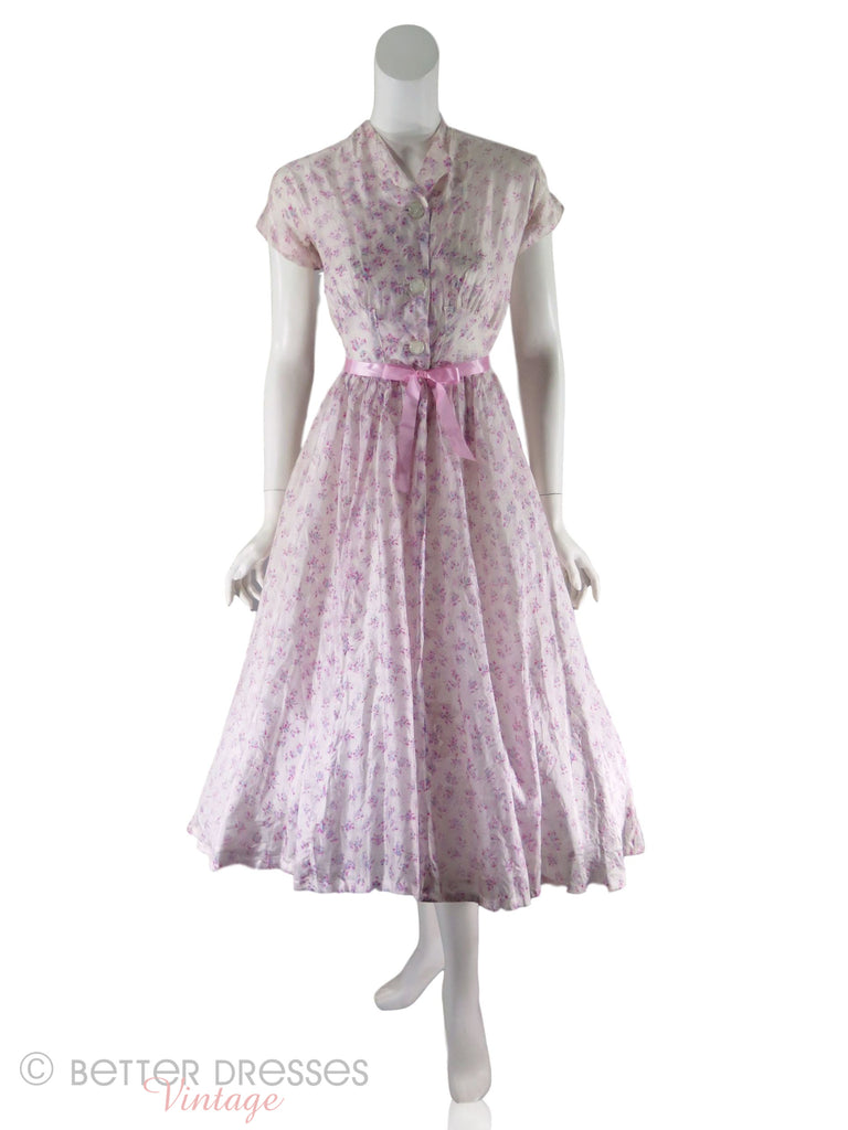 40s/50s Tissue Silk Floral Dress