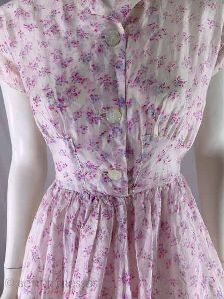 Detail of 40s or 50s vintage silk dress