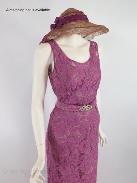 Coordinating hat shown with 30s dress