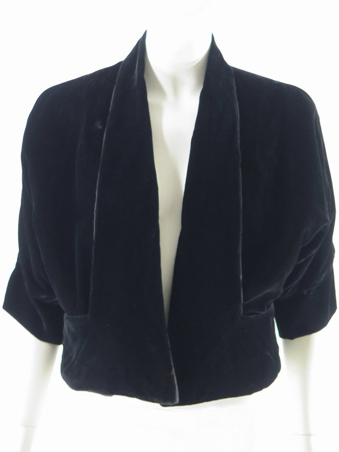 1950s black velvet no-closure jacket