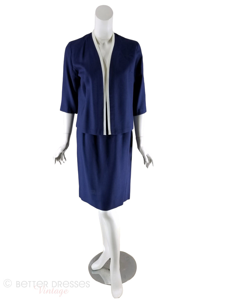 60s Navy Blue and White Skirt Suit