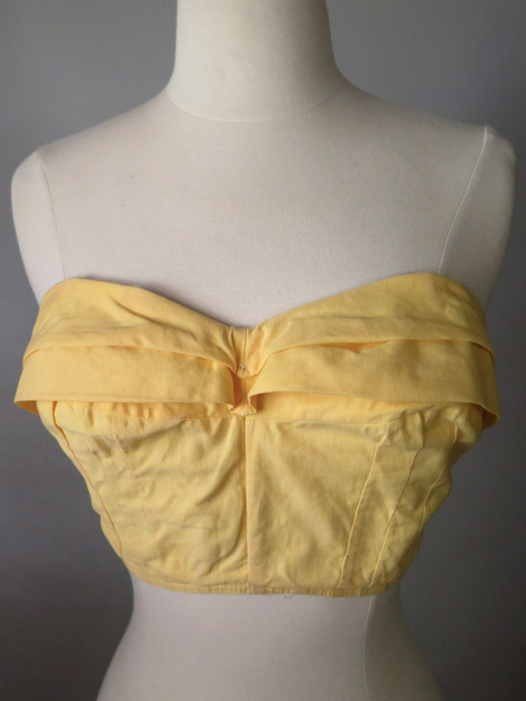50s crop top in yellow cotton