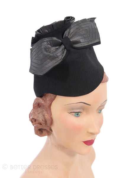 30s Pixie Hat in Black Felt - on Jane