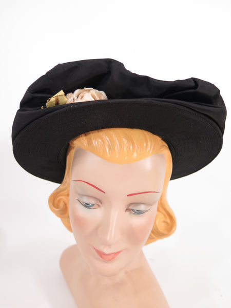 40s hat in black taffeta front view