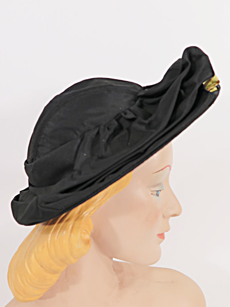 40s black taffeta hat - side view