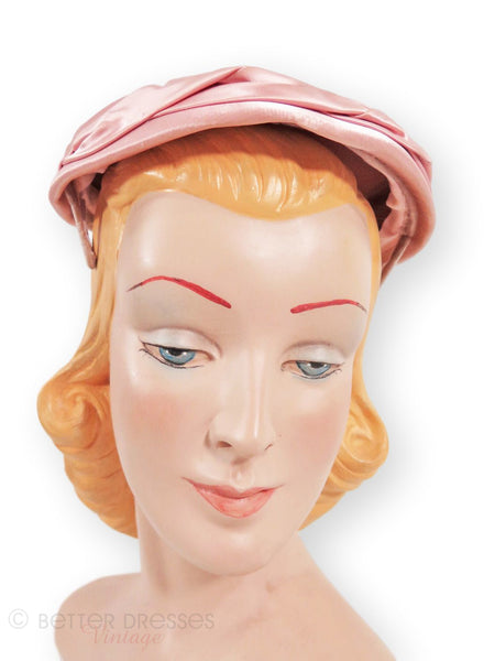 1950s hat in pink satin