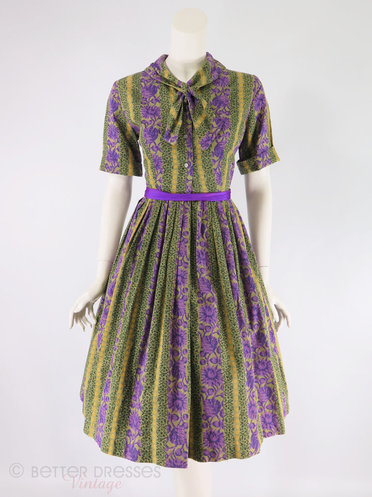 50s/60s Striped Purple and Green Shirtwaist Dress