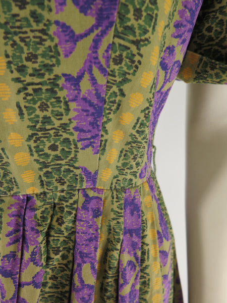 60s Full Skirted Shirtwaist - waist detail