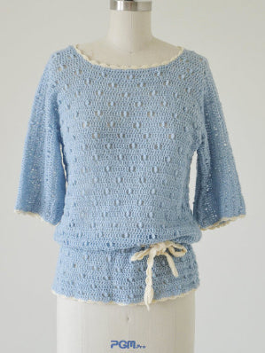 70s Does 20s Crochet Tunic Top - sm, med