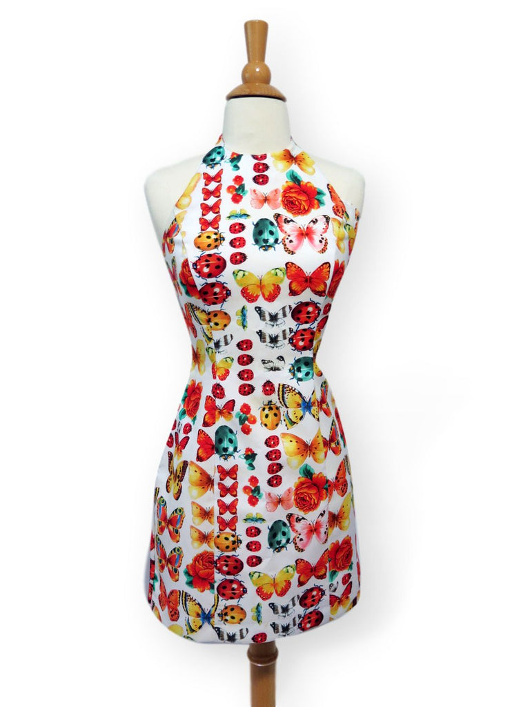 80s halter mini dress on dress form