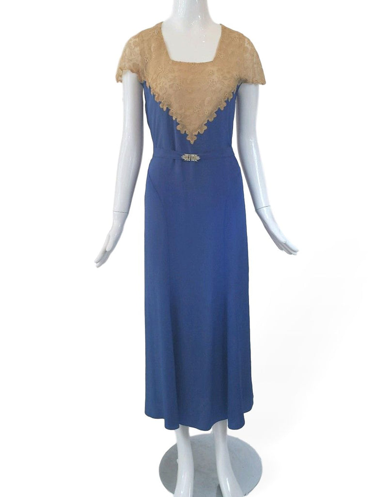 30s Dress in Blue With Lace Bodice and Art Deco Belt