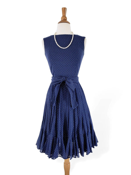 60s Polka Dot Dress in Navy Blue and White
