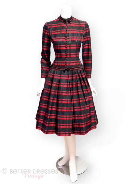 50s red and black plaid dress