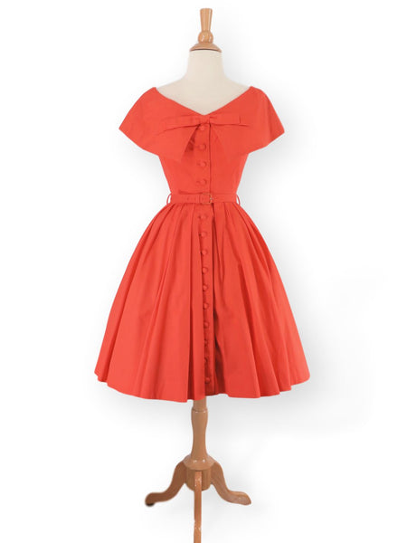 50s GiGi Young Dress in orange cotton
