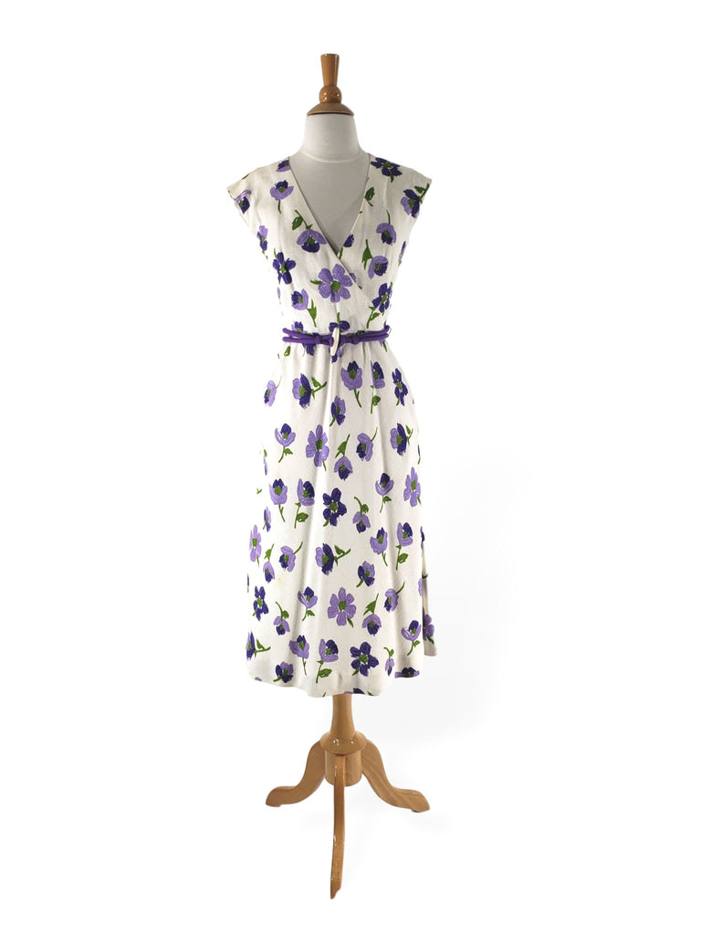 70s Purple Floral Day Dress