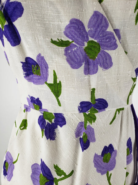 70s Purple Floral Day Dress - sm