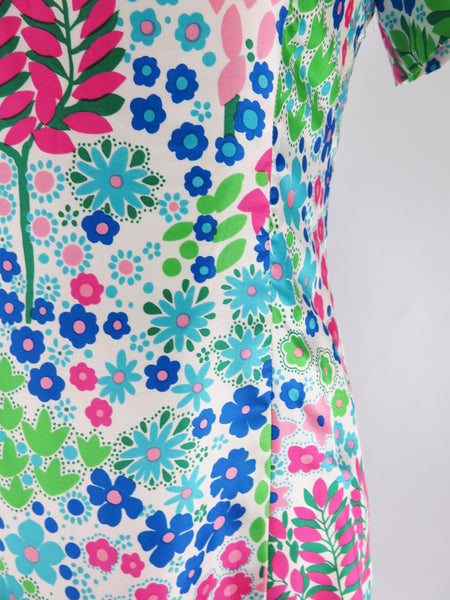60s Floral Shift Dress detail