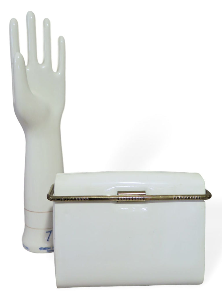 60s Mod Box Purse in White Patent
