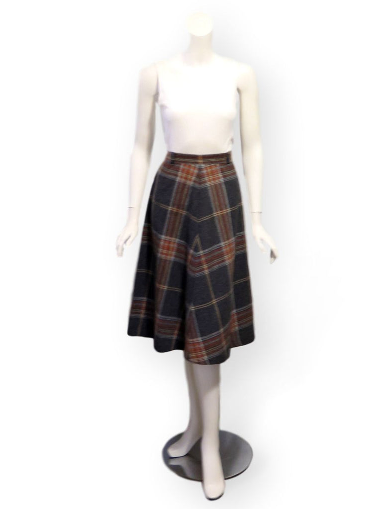 70s A-line plaid skirt