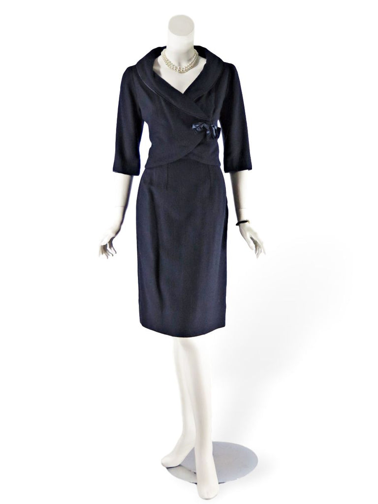 Vintage 50s Skirt Suit in Navy Blue