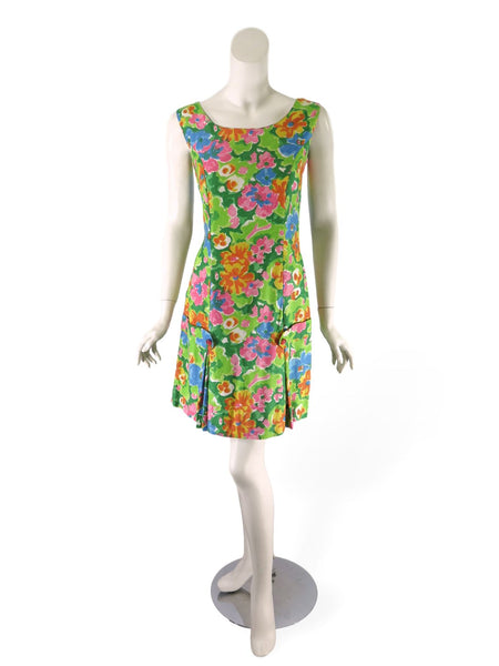 60s Scooter Dress in Bright Floral Cotton