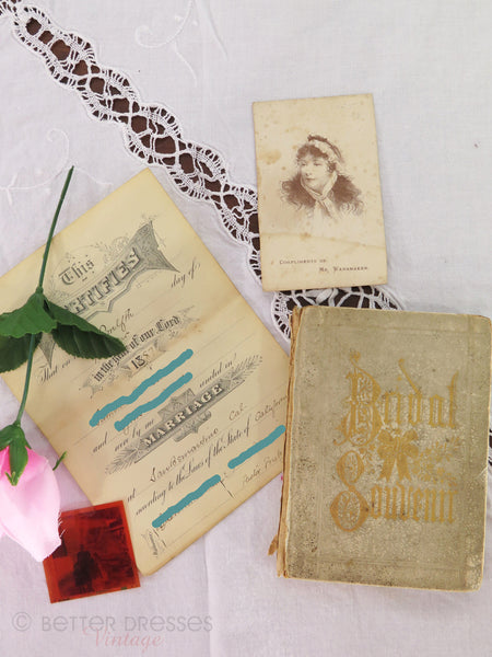 Victorian Bridal Souvenir Book and Ephemera 1887