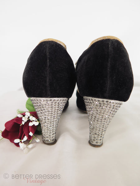 back view of 20s shoes with rhinestone heels