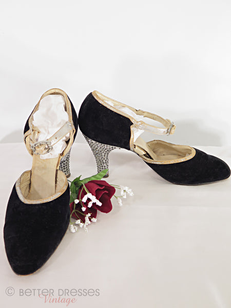 20s shoes with rhinestone heels