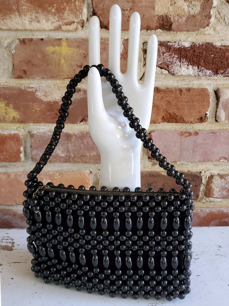 1960s Handbag, Black, Beaded