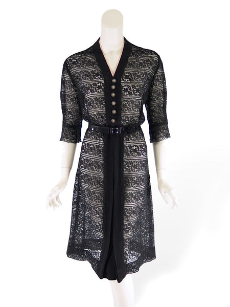 40s Black Lace Dress - shown with added belt