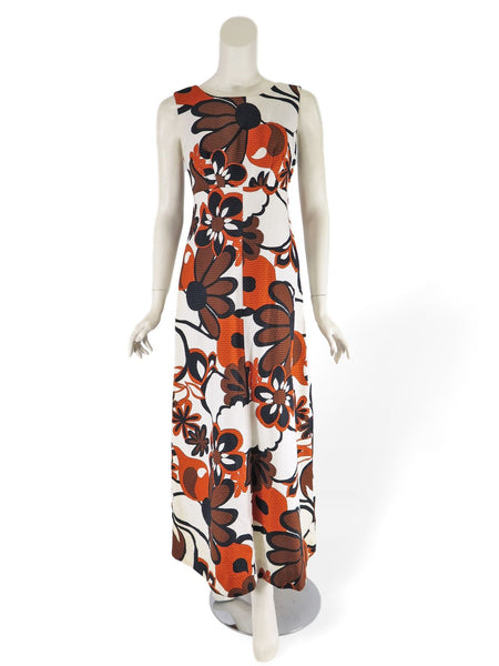 60s Pikake Fashions Bold Floral Maxi Dress