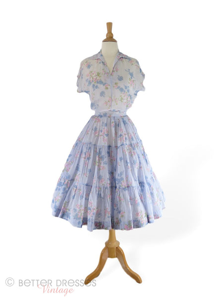 40s/50s patio set or squaw dress in light blue floral cotton