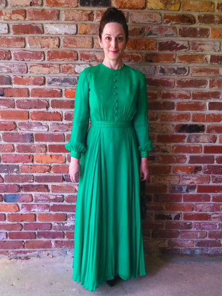 60s Green Chiffon Gown - on a person