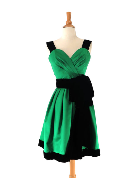 1980s Party Dress in Green Satin and Black Velvet