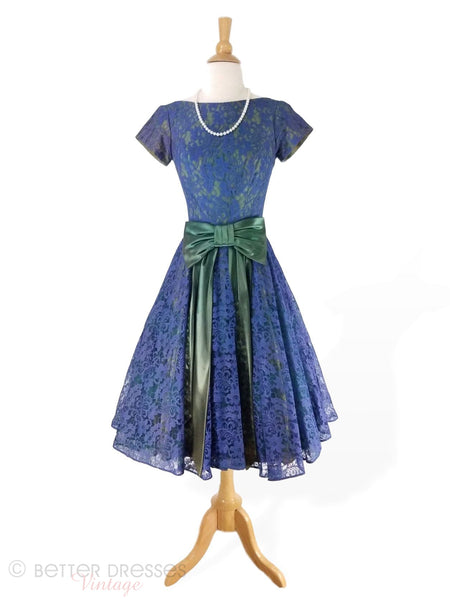 50s Blue Lace Party Dress