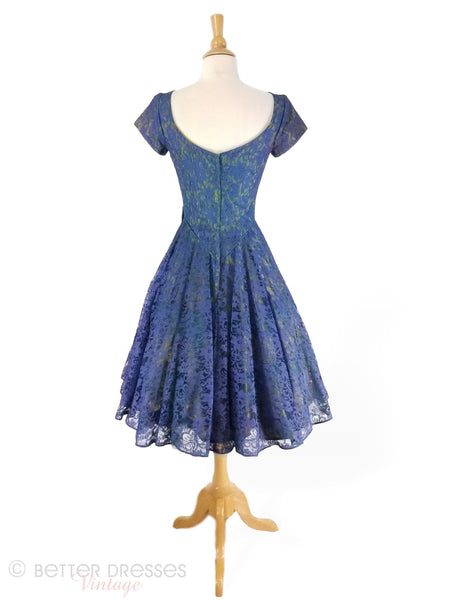 1950s Party Dress in Indigo Blue - back view