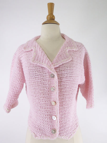 50s Style Cardigan in Pink Crochet - sm, med