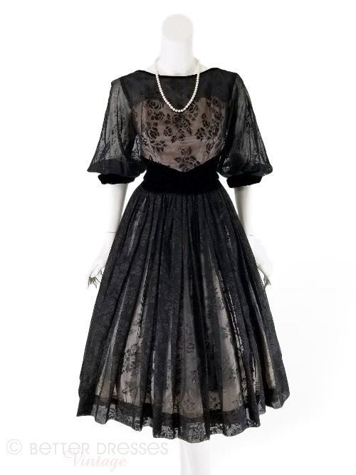 50s Flocked Party Dress