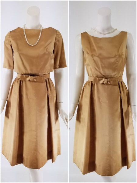 50s/60s Golden Taupe Satin Dress and Cropped Jacket Set
